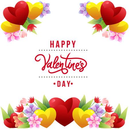 colored valentine flower border