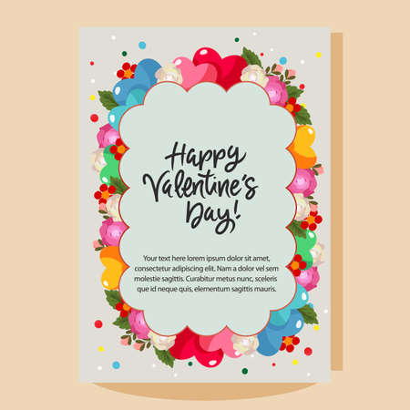 happy valentines day cloud shape rose flower
