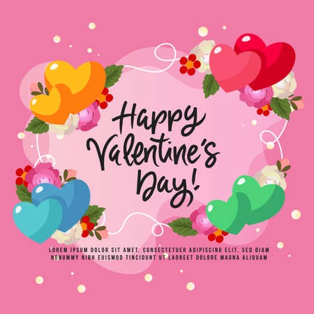 happy valentine day card with rose element Illustration