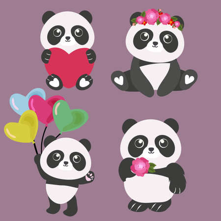 valentine cute panda cartoon set Illustration