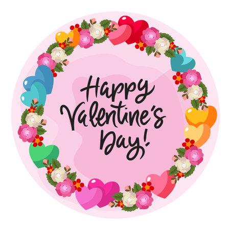 valentine heart and rose wreath flower decoration Illustration