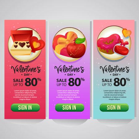 three vertical banner website valentine theme