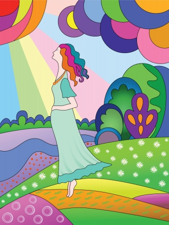 A pregnant woman in a meadow  Bright spring landscape  Illustration