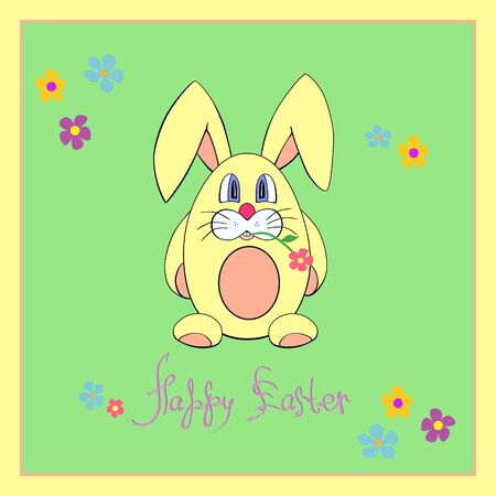 Cute Easter bunny  Easter greeting card in pastel colors Vector
