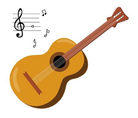 Guitarra acústica y notas musicales aisladas sobre fondo blanco