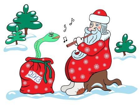 fife: Santa Claus and the snake  Christmas card 2013