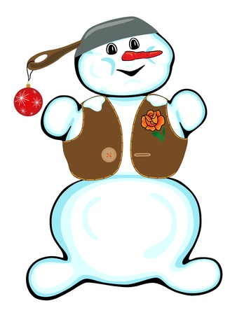 Cheerful snowman isolated on white background  Vector