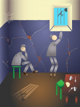 waiting convict: Two prisoners in a prison cell  Illustration