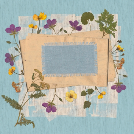 Vintage greeting card  Frame with wild flowers  photo