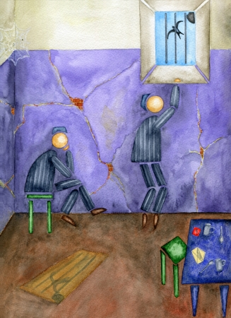 waiting convict: Two inmates in a prison cell. Watercolor.