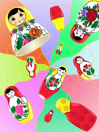 Russian nesting dolls on an abstract background. Stock Vector - 20313245