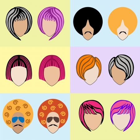 Stylish mens and womens colored wigs. Set. Vector
