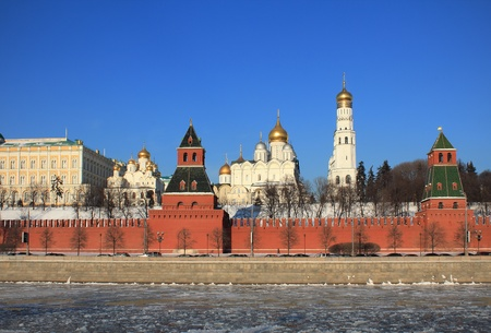 Beautiful views of the Moscow Kremlin in winter photo