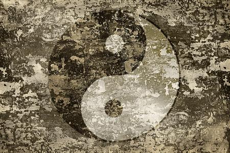 Symbol of harmony yin and yang on grange background texture. photo