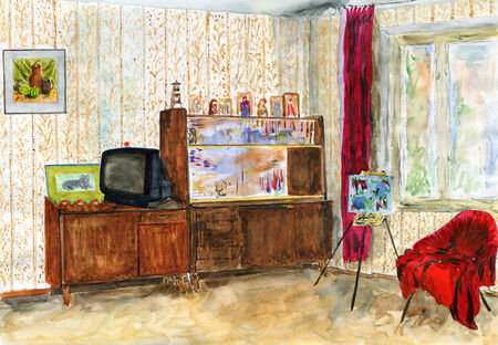 Typical interior of a room in a Soviet apartment. Watercolor painting. photo
