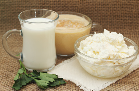 milk products: Still life with farm dairy products: milk, fermented baked milk, cottage cheese. Stock Photo