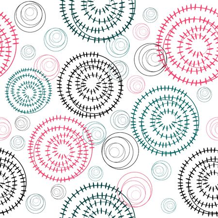 textiles: Geometric seamless background with colored circles for decoration textiles Illustration
