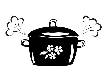 Casserole with steam. Vector black and white image. Cooking pan icon.