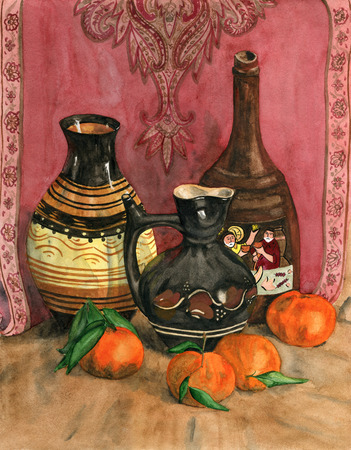 mandarins: Watercolor still life with ceramic vases and mandarins. Hand drawing.