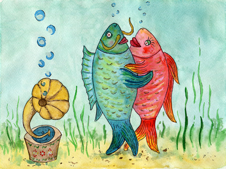 Two fishes dancing a waltz. Funny picture. Dance lovers. Watercolor painting. The dance of fishes on the background of the sea.