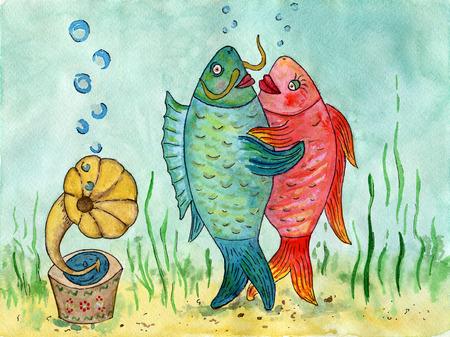 Twee vissen dansen een wals. Grappige foto. Dansliefhebbers. Aquarel schilderij. De dans van vissen op de achtergrond van de zee. Stockfoto