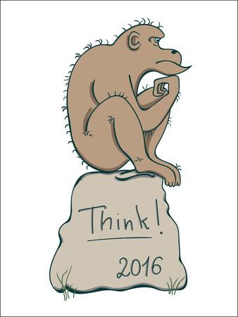 irony: Monkey in thinker Pose. Monkey thinking. Monkey sitting on a rock. The inscription Think!. 2016 New Year Symbol.