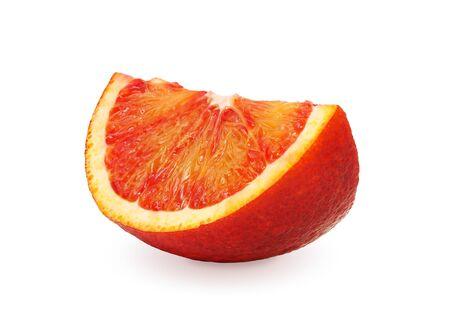 sanguine: Slice red orange isolated on white background. Washington Sanguine blood orange. Stock Photo