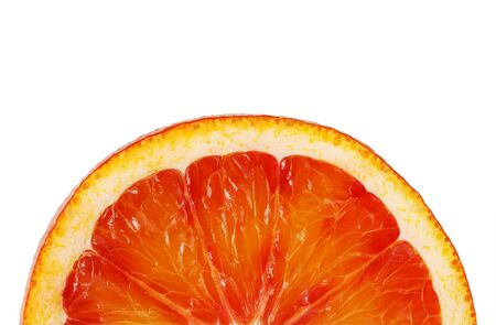 sanguine: Slice red orange closeup on white background this clipping path. Washington Sanguine blood orange. Stock Photo