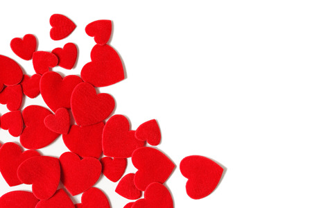 felt: Red Felt hearts on a white background.