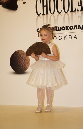 chocolat: Childrens fashion show at the Salon du Chocolat in Moscow, Russia, March 5, 2016. Exhibition Salon du chocolat on March 5, 2016 in Moscow, Russia. Editorial