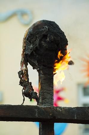 maslenitsa: Burning effigies. Spring fire ritual. Burning ritual dolls on pagan celebration of spring.
