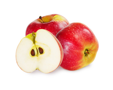 two and a half: Two and a half ripe red apples over white background.