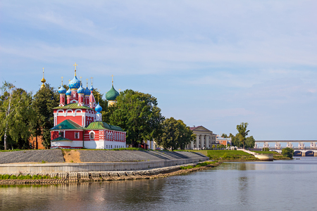the volga river: Russia. Church of St. Dmitry on the Blood in Uglich. Uglich City and the Volga River. Stock Photo