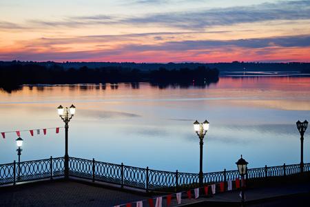 volga: Embankment of the Volga River at night. Uglich. Russia. Stock Photo