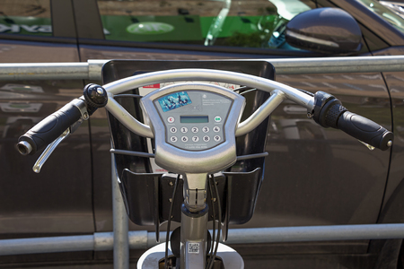public figure: Moscow, Russia - May 6, 2016: bike for rent in Moscow. City bikes. Handlebar and display.