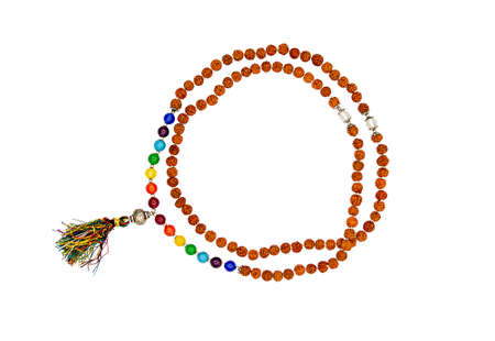 Rudraksha rosary isolated on a white background. Seven planets.