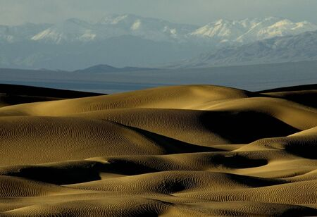 Dunes of Death Valley, CA with snowy mountain range in the distance.