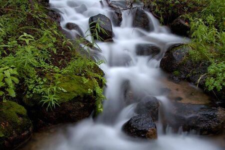 A timed exposure of a mountain waterfall in the Eastern Sierras of California. Stock Photo - 359243