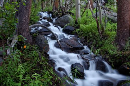 A timed exposure of a mountain waterfall in the Eastern Sierras of California. Stock Photo - 359244