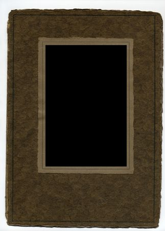 deckled: Blank antique paper picture frame. Stock Photo