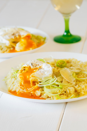 poached: Creamy leek risotto with fresh poached egg