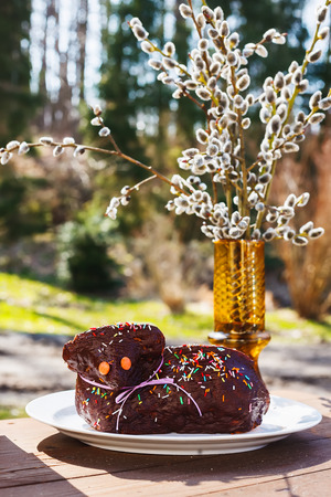 pasen schaap: Sweet chocolate easter lamb cake with sprinkles with catkins in background