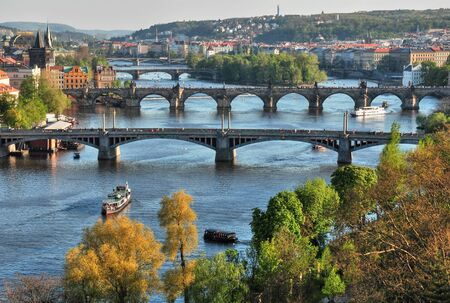View of the skyline of Prague s bridges photo
