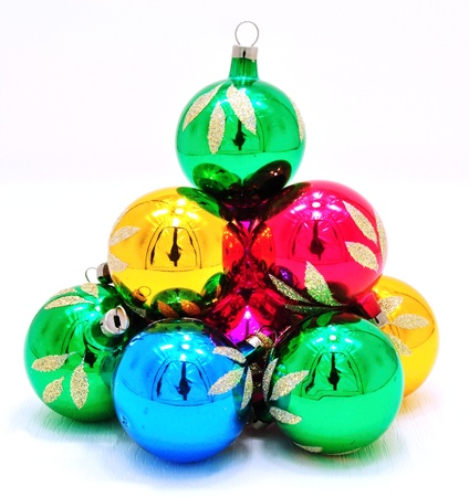Very bright colored Christmas ornaments with reflections Stock Photo - 14666686