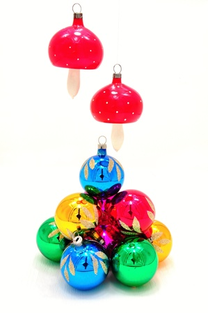 Very bright colored Christmas ornaments with reflections Stock Photo