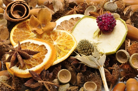 Autumn decoration - dried fruit in a brown background