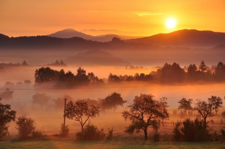 Autumn fog and the beautiful morning sun in a landscape photo