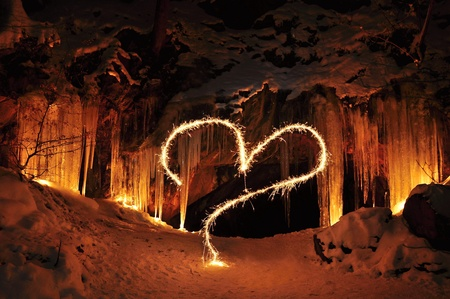 The entrance to the ice cave and Valentine heart photo