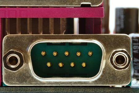 vga: Metal VGA conector de la placa base con el fondo de escritorio m�s fresco