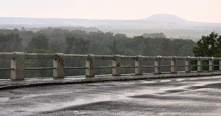Rainy weather on a bridge in the Czech Republic